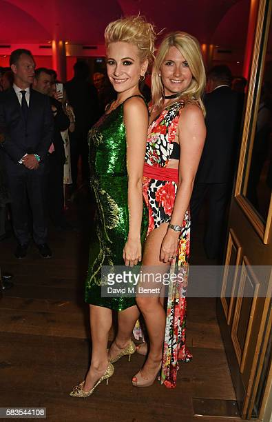 Pixie Lott and sister CharlieAnn Lott attend the press night after party for 'Breakfast at Tiffany's' at the The Haymarket Hotel on July 26 2016 in...