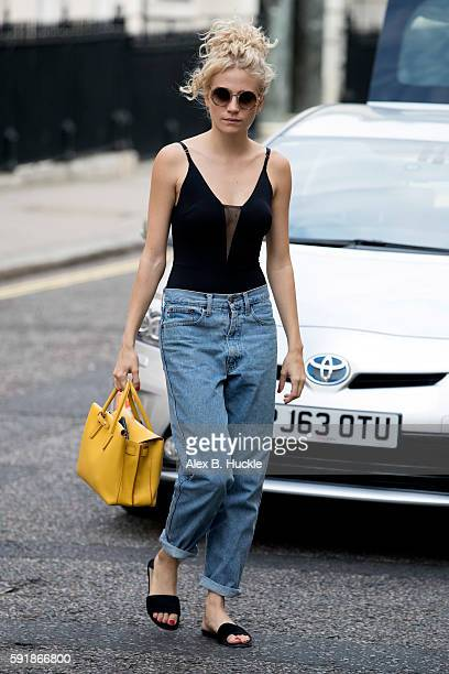 Pixie Lott arrives at the Theatre Royal Haymarket where she is appearing in 'Breakfast at Tiffany's' on August 18 2016 in London England