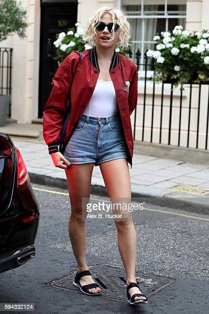 Pixie Lott arrives at the Theatre Royal Haymarket where she is appearing in 'Breakfast at Tiffany's' on August 22 2016 in London England
