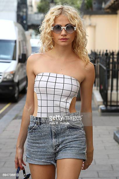 Pixie Lott arrives at the Theatre Royal Haymarket where she is appearing in 'Breakfast at Tiffany's' on August 24 2016 in London England
