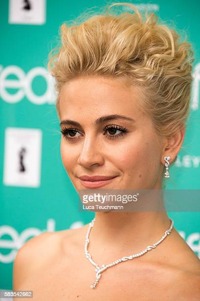 Pixie Lott arrives for the opening night of Breakfast at Tiffany at Theatre Royal on July 26 2016 in London England