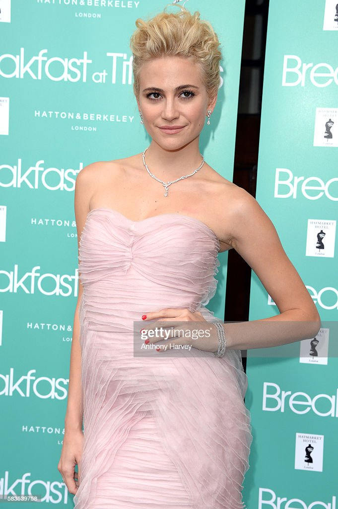 Pixie Lott arrives for the opening night of Breakfast at Tiffany's at the Theatre Royal, Haymarket on July 26, 2016 in London, England.