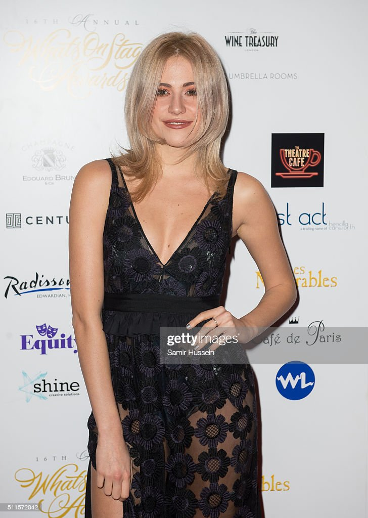 Pixie Lott arrives for the WhatsOnStage Awards at Prince Of Wales Theatre on February 21, 2016 in London, England.