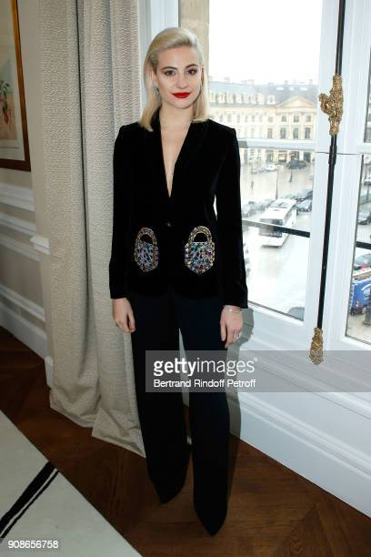 Pixie Lott attends the Schiaparelli Haute Couture Spring Summer 2018 show as part of Paris Fashion Week on January 22 2018 in Paris France