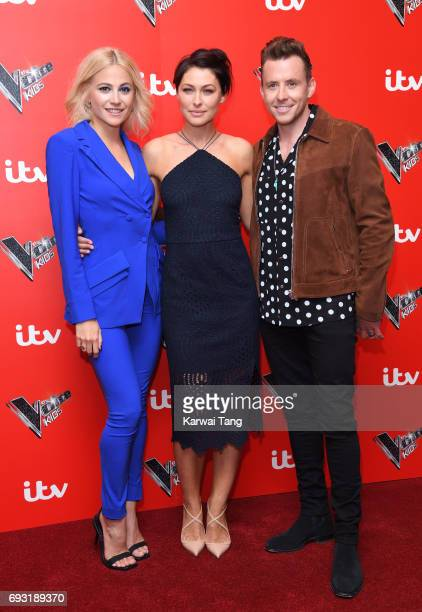 Pixie Lott Emma Willis and Danny Jones attend the Voice Kids photocall at Madame Tussauds on June 6 2017 in London England