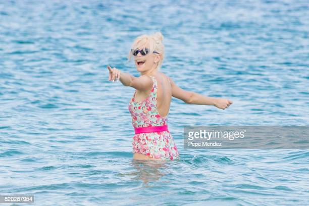 Pixie Lott is seen at Hard Rock Hotel Ibiza at the presentation of the Global Gift Beach Party on July 21 2017 in Ibiza Spain