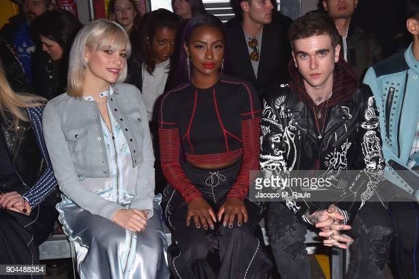Pixie Lott Justine Skye and GabrielKane DayLewis attend the Diesel Black Gold show during Milan Men's Fashion Week Fall/Winter 2018/19 on January 13...