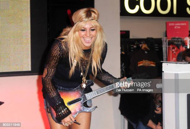 Pixie Lott launches the latest instalment of music making game Guitar Hero at HMV Oxford Street in central London