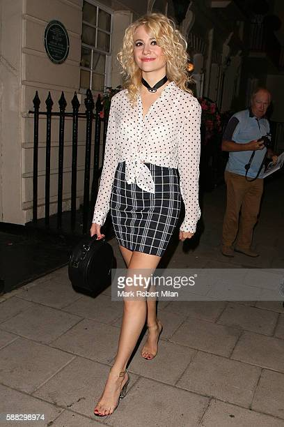 Pixie Lott leaving the Theatre Royal Haymarket after her performance in Breakfast at Tiffanys on August 10 2016 in London England