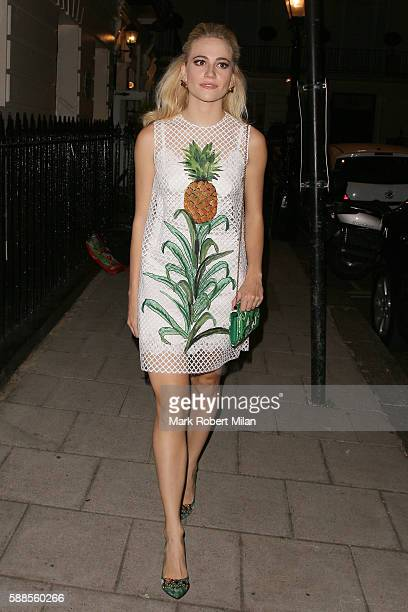 Pixie Lott leaving the Theatre Royal Haymarket after her performance in Breakfast at Tiffanys on August 11 2016 in London England