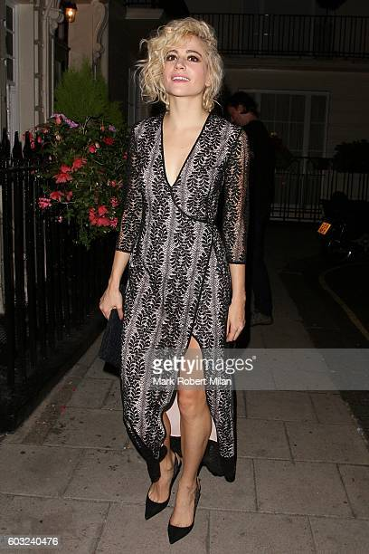 Pixie Lott leaving the Theatre Royal Haymarket after her performance in Breakfast at Tiffanys on September 12 2016 in London England