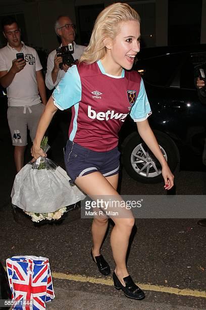 Pixie Lott leaving the Theatre Royal Haymarket on August 4 2016 in London England