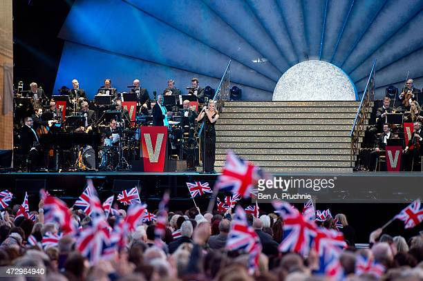 Pixie Lott performs during a concert on the 70th anniversary of VE Day at Horse Guards Parade on May 9 2015 in London England
