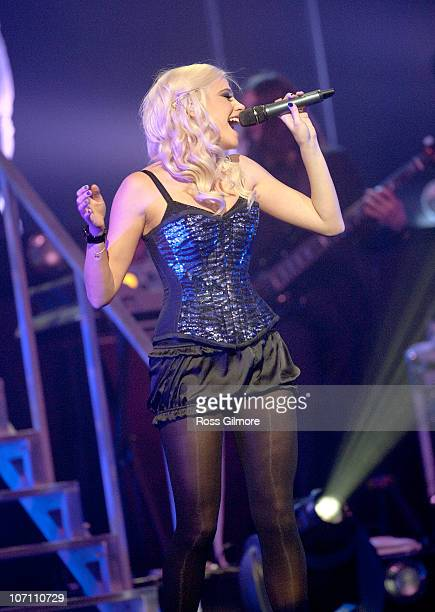 Pixie Lott performs on stage at Clyde Auditorium on November 24, 2010 in Glasgow, Scotland.
