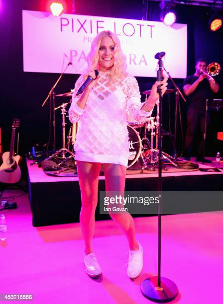 Pixie Lott performs on stage at the Pandora presents Pixie Lott album launch party at The Langham Hotel on August 5 2014 in London England