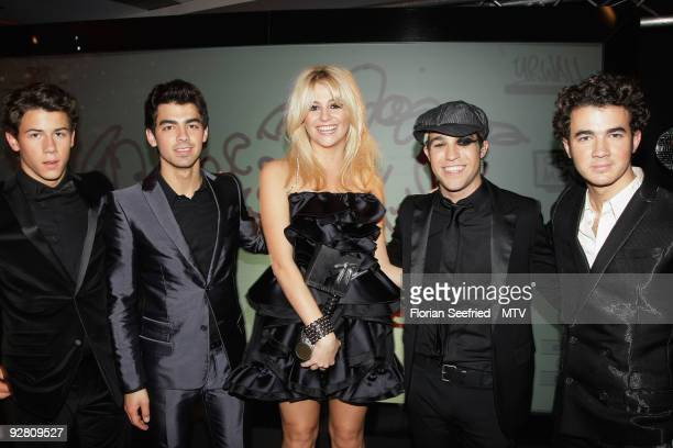 Pixie Lott Pete Wentz and Nick Joe and Kevin of Jonas Brothers attend the Pete Wentz Backstage Digital Show during the 2009 MTV Europe Music Awards...
