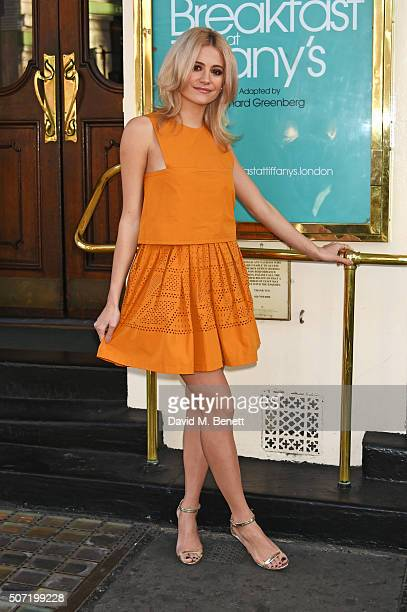Pixie Lott poses at a photocall for a new stage adaptation of Truman Capote's Breakfast at Tiffany's at the Theatre Royal Haymarket on January 28...