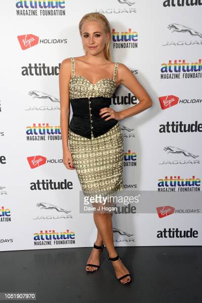 Pixie Lott poses in the winner's room at The Virgin Holidays Attitude Awards at The Roundhouse on October 11 2018 in London England