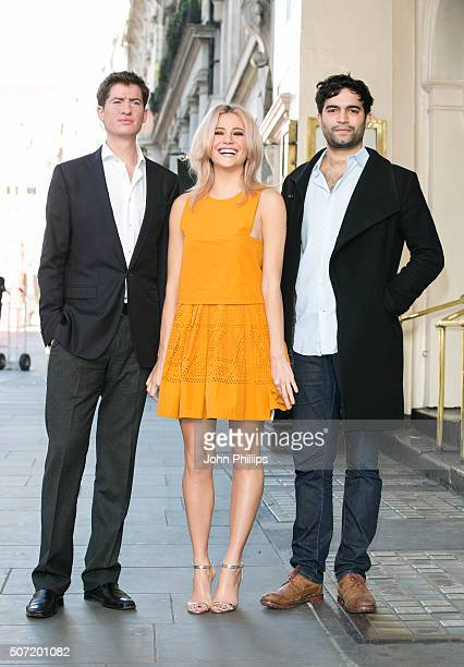 Pixie Lott poses with co stars Matt Barber and Charlie De Melo who will perform in the new stage adaptation of Truman Capote's Breakfast at Tiffany's...