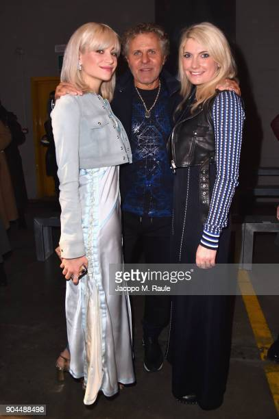 Pixie Lott Renzo Rosso and CharlieAnn Lott attend the Diesel Black Gold show during Milan Men's Fashion Week Fall/Winter 2018/19 on January 13 2018...
