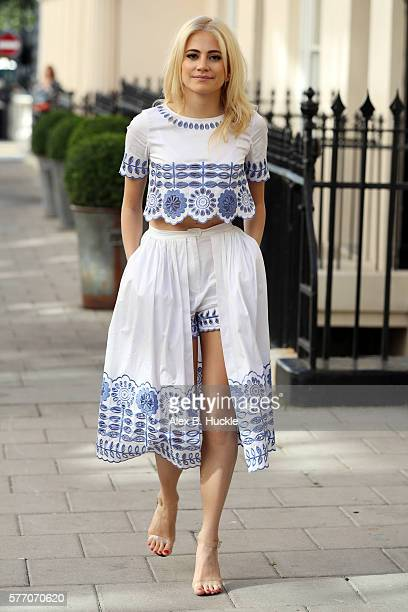 Pixie Lott seen arriving at the Theatre Royal Haymarket where she is appearing as Holly Golightly in Breakfast At Tiffany's on July 18 2016 in London...