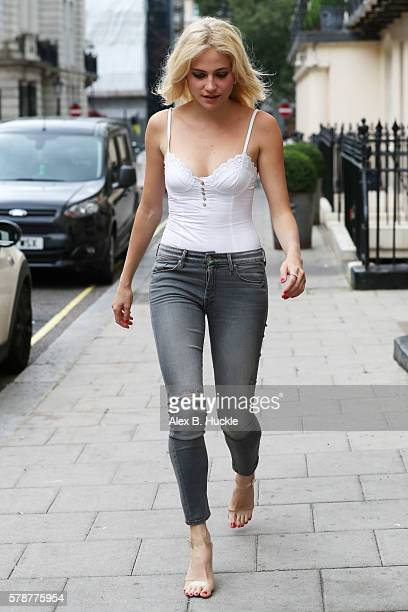 Pixie Lott seen arriving at the Theatre Royal Haymarket where she is appearing in 'Breakfast at Tiffany's' on July 22 2016 in London England