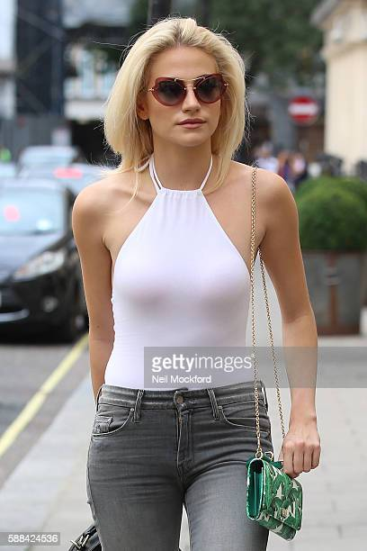 Pixie Lott seen arriving for the evening performance of Breakfast at Tiffany's at the Theatre Royal Haymarket on August 11 2016 in London England