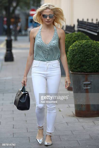 Pixie Lott seen arriving for the evening performance of Breakfast at Tiffany's at the Theatre Royal Haymarket on August 30 2016 in London England