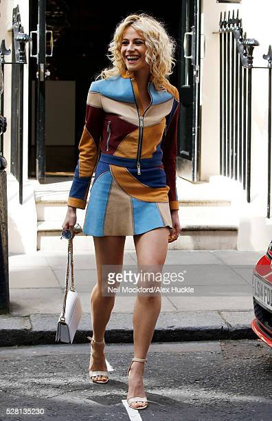 Pixie Lott seen leaving the Haymarket Hotel after the 'Breakfast at Tiffany's' London launch on May 4 2016 in London England