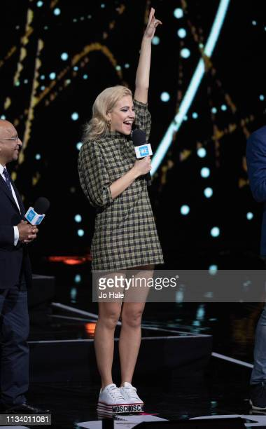 Pixie Lott speaks on stage at We Day UK at SSE Arena on March 06 2019 in London England