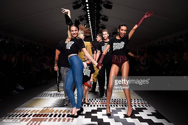Pixie Lott walks the runway at the Fashion For Relief charity fashion show to kick off London Fashion Week Fall/Winter 2015/16 at Somerset House on...