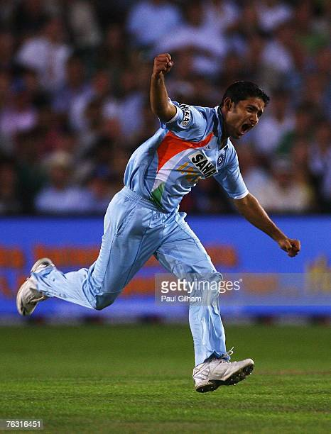 Piyush Chawla of India celebrates the wicket of Kevin Pietersen of England during the Second NatWest Series One Day International match between...