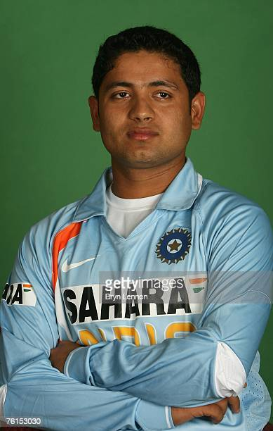 Piyush Chawla poses for a photograph during a photo call at the Marriott Hotel on August 17 2007 in Northampton England