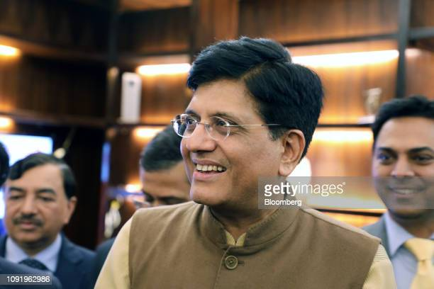 Piyush Goyal India's interim finance minister center stands with his budget team at North Block in New Delhi India on Thursday Jan 31 2019 India's...