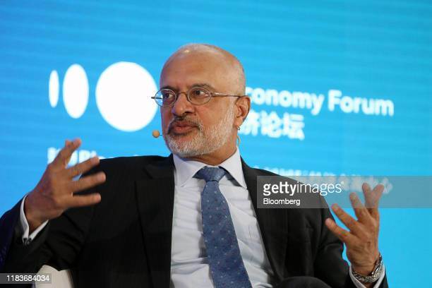 Piyush Gupta, chief executive officer of DBS Group Holdings Ltd., speaks during a panel discussion at the Bloomberg New Economy Forum in Beijing,...