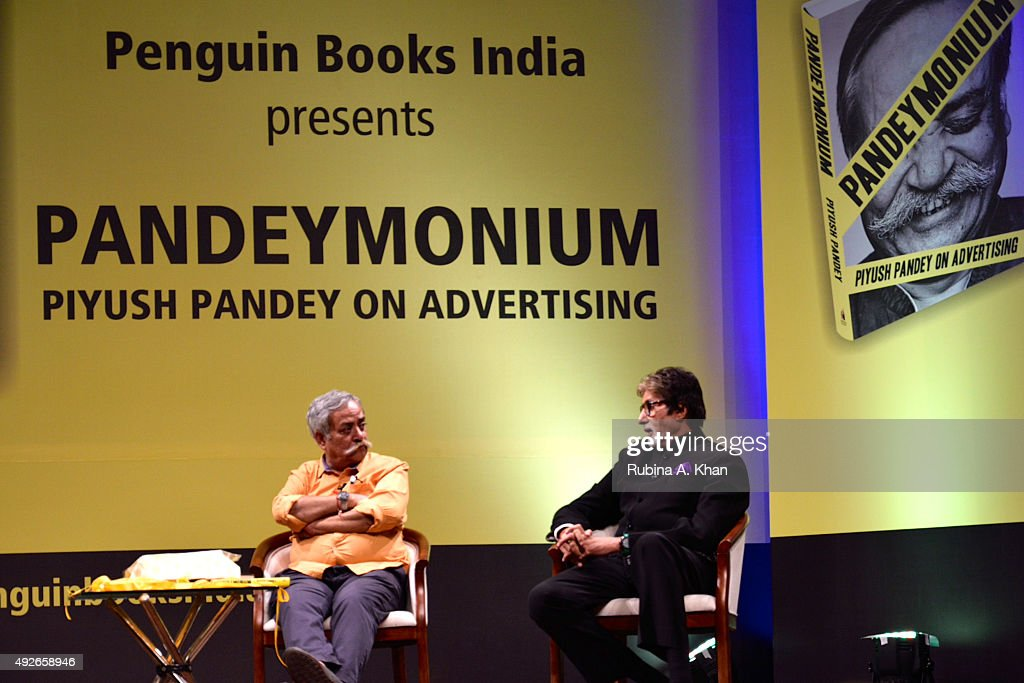 Piyush Pandey in conversation with Amitabh Bachchan at the launch of his book, Pandeymonium, at the Jamshed Bhabha Theatre (NCPA) on October 14, 2015 in Mumbai, India.