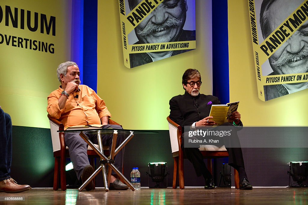 Piyush Pandey with Amitabh Bachchan at the launch of his book, Pandeyomium, at the Jamshed Bhabha Theatre (NCPA) on October 14, 2015 in Mumbai, India.