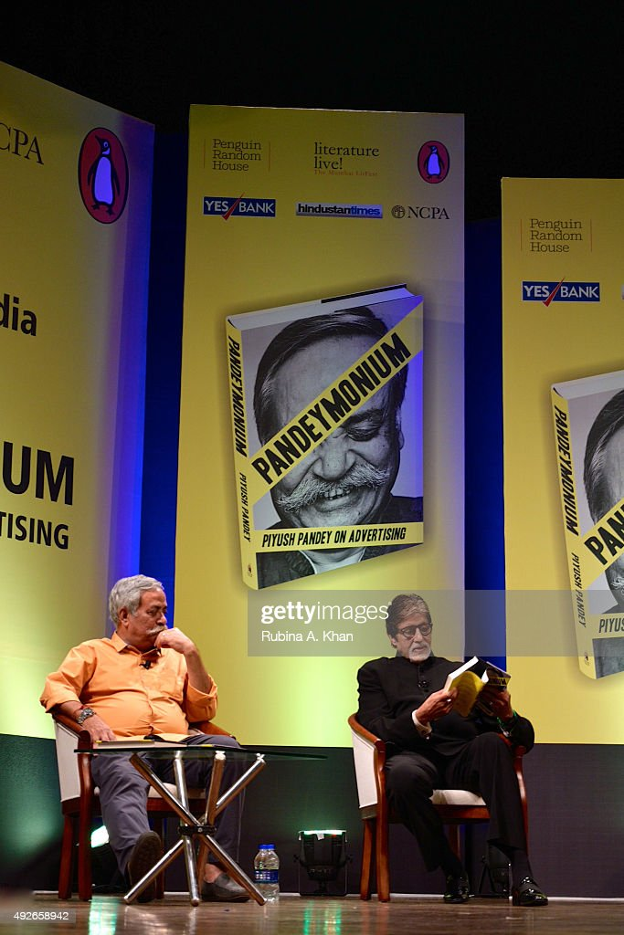 Piyush Pandey with Amitabh Bachchan at the launch of his book, Pandeymonium, at the Jamshed Bhabha Theatre (NCPA) on October 14, 2015 in Mumbai, India.