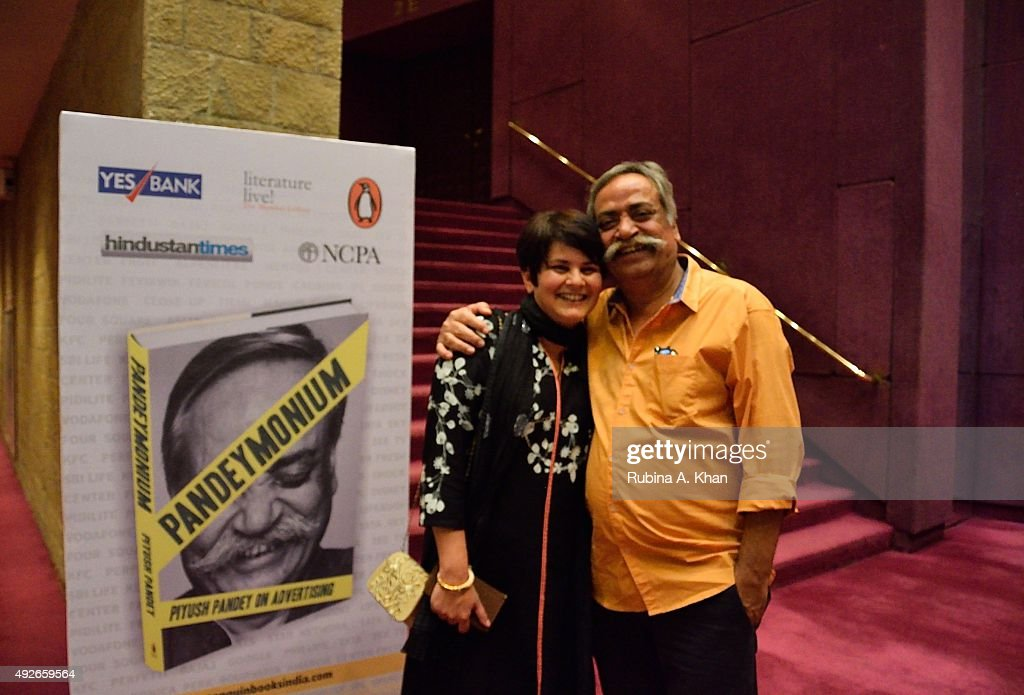 Piyush Pandey with his wife Nita at the launch of his book, Pandeymonium, published by Penguin Random House India at the Jamshed Bhabha Theatre (NCPA) on October 14, 2015 in Mumbai, India.