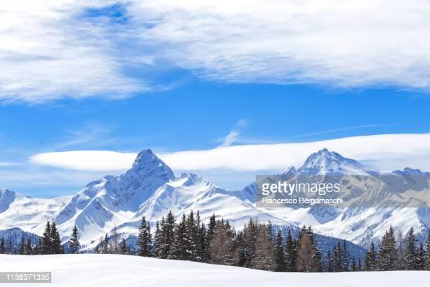 Piz Ela and Piz Arblatsch after a heavy snowfall. Wiesner Alp, Davos Wiesen, Landwasser Valley, Albula Valley, District of Prattigau/Davos, Canton of Graubünden, Switzerland, Europe.