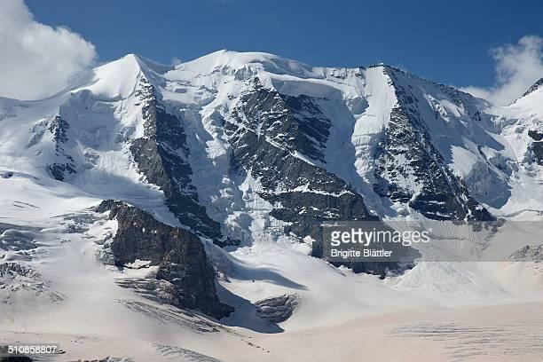Piz Palu, Palü with red Sahara Sand on the Glacier