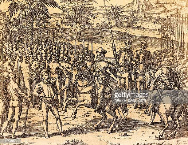 Pizarro being welcomed by the natives engraving from American History by Theodore de Bry Peru 17th Century