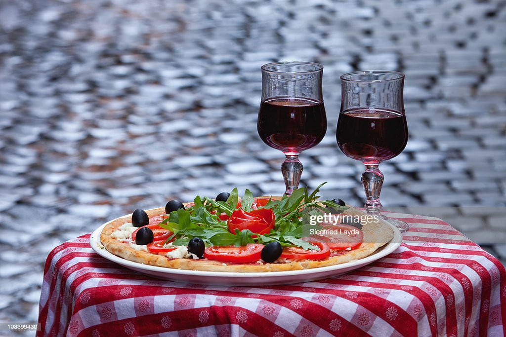 Pizza and Wine : Stock Photo
