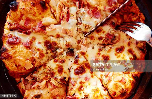 pizza background - hawaiian pizza stock pictures, royalty-free photos & images