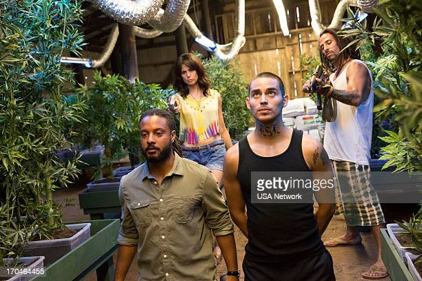 GRACELAND Pizza Box Episode 103 Pictured Brandon Jay McLaren as Dale DJ Jakes Mia Kirshner as Ashika Pearl Manny Montana as Joe Johnny Turturro