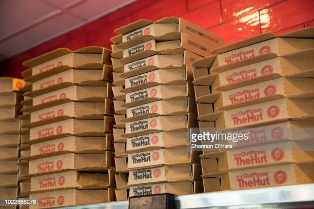 Pizza Boxes on display at Pizza Hut on June 29, 2018 in Shreveport, Louisiana.