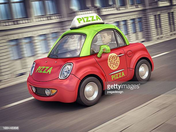 pizza car in the city