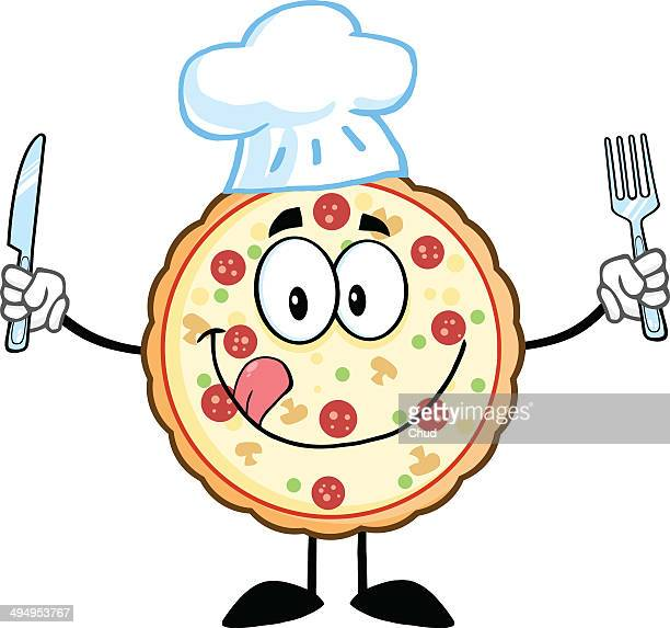 Pizza chef with knife and fork