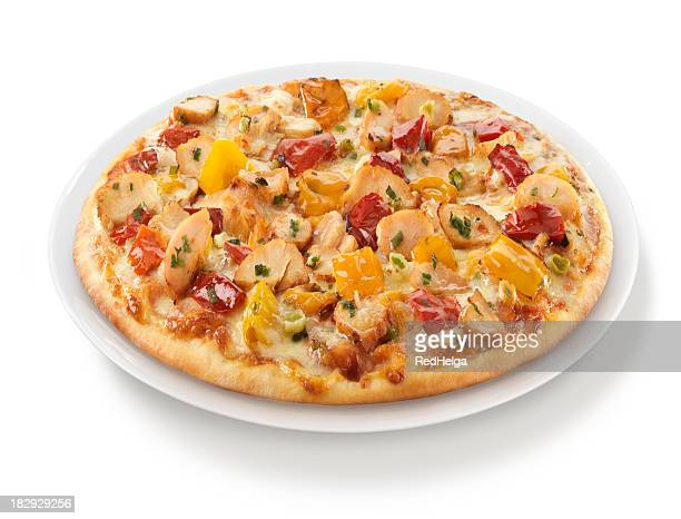 Pizza, Chicken Paprika auf Teller