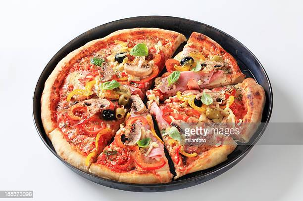 Pizza cut in pieces